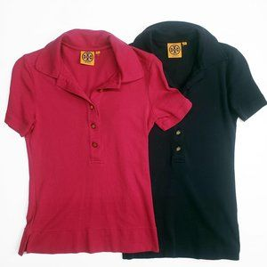 Tory Burch Short Sleeve Polo Lot Of 2 Pink Blue XS